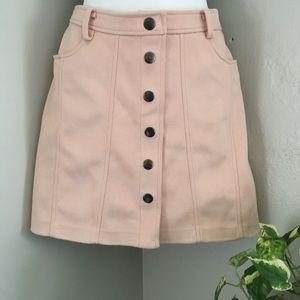 Zara Faux Suede Button-Up Skirt